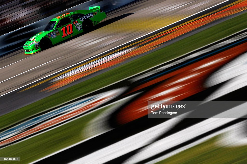 <a gi-track='captionPersonalityLinkClicked' href=/galleries/search?phrase=Danica+Patrick&family=editorial&specificpeople=183352 ng-click='$event.stopPropagation()'>Danica Patrick</a>, driver of the #10 GoDaddy.com Chevrolet, races during the NASCAR Sprint Cup Series AAA Texas 500 at Texas Motor Speedway on November 4, 2012 in Fort Worth, Texas.