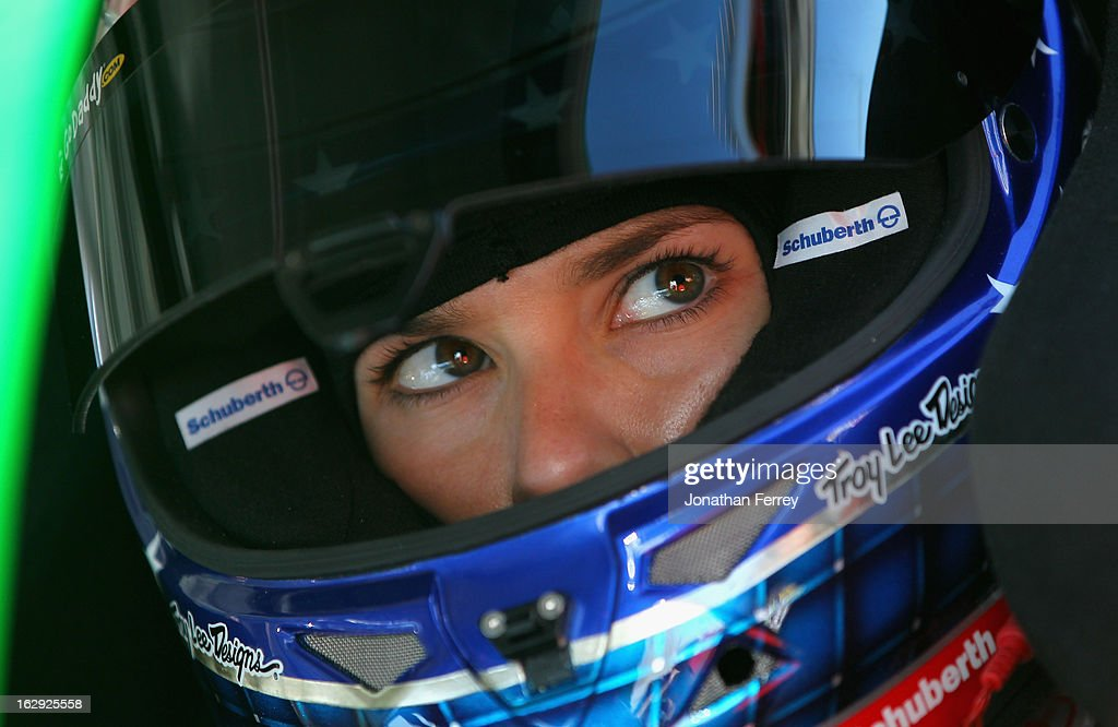 Danica Patrick driver of the GoDaddycom Chevrolet sits in her car in the garage area during practice for the NASCAR Sprint Cup Series Subway Fresh...