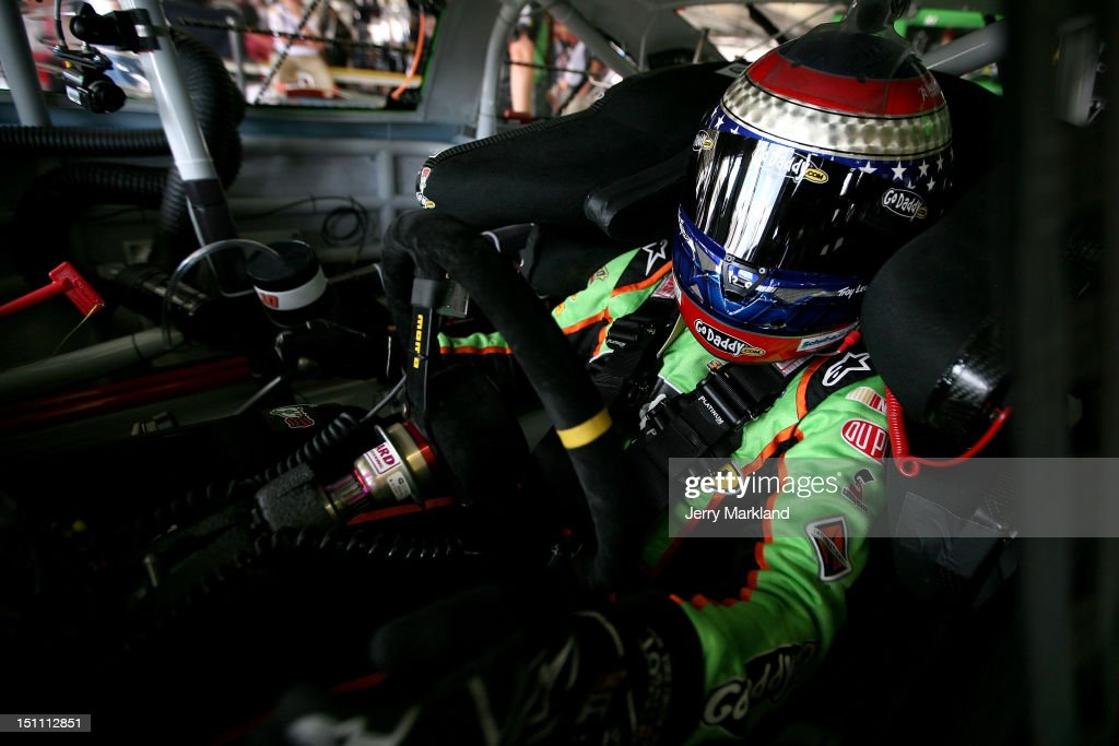 <a gi-track='captionPersonalityLinkClicked' href=/galleries/search?phrase=Danica+Patrick&family=editorial&specificpeople=183352 ng-click='$event.stopPropagation()'>Danica Patrick</a>, driver of the #10 GoDaddy.com Chevrolet, sits in her car during practice for the NASCAR Sprint Cup Series AdvoCare 500 at Atlanta Motor Speedway on September 1, 2012 in Hampton, Georgia.