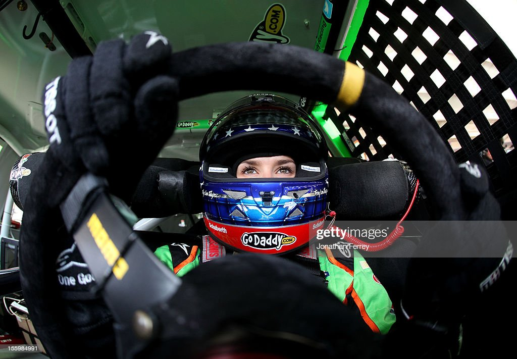 <a gi-track='captionPersonalityLinkClicked' href=/galleries/search?phrase=Danica+Patrick&family=editorial&specificpeople=183352 ng-click='$event.stopPropagation()'>Danica Patrick</a>, driver of the #10 GoDaddy.com Chevrolet, sits in her car during practice for the NASCAR Sprint Cup Series AdvoCare 500 at Phoenix International Raceway on November 10, 2012 in Avondale, Arizona.