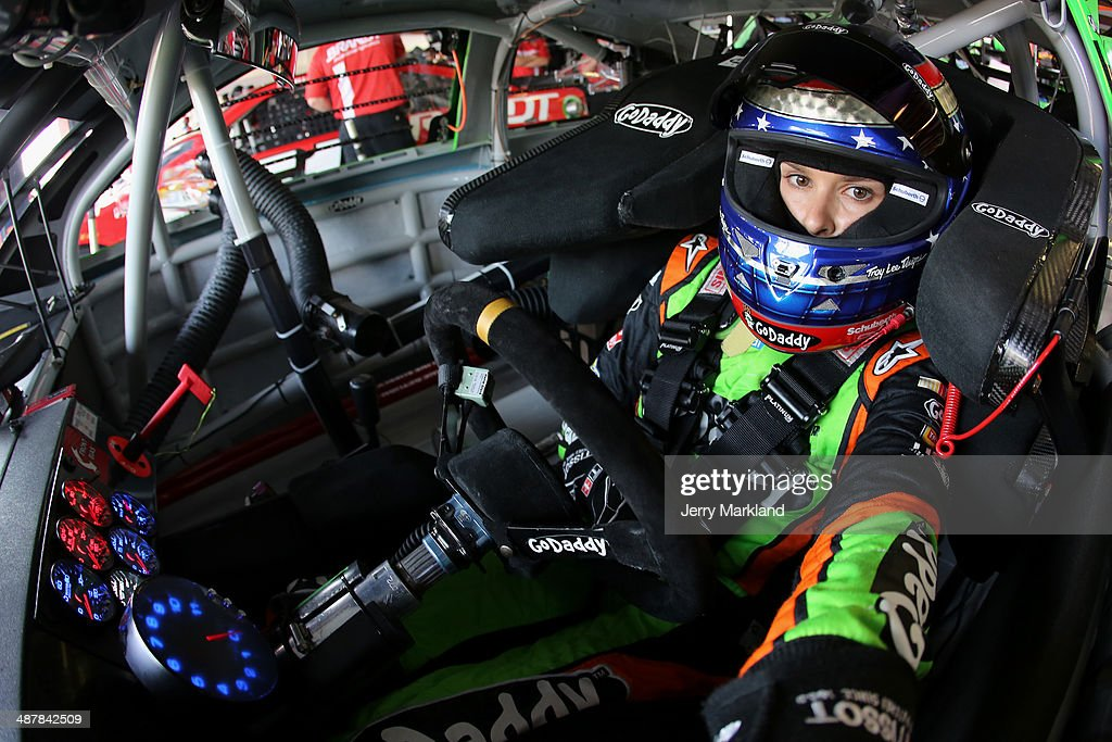 <a gi-track='captionPersonalityLinkClicked' href=/galleries/search?phrase=Danica+Patrick&family=editorial&specificpeople=183352 ng-click='$event.stopPropagation()'>Danica Patrick</a>, driver of the #10 GoDaddy.com Chevrolet, sits in her car during practice for the NASCAR Sprint Cup Series Aaron's 499 at Talladega Superspeedway on May 2, 2014 in Talladega, Alabama.