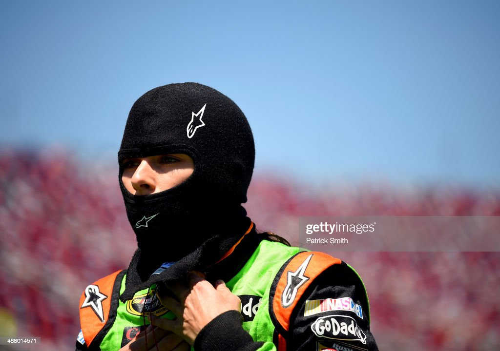 <a gi-track='captionPersonalityLinkClicked' href=/galleries/search?phrase=Danica+Patrick&family=editorial&specificpeople=183352 ng-click='$event.stopPropagation()'>Danica Patrick</a>, driver of the #10 GoDaddy.com Chevrolet, stands on the grid during qualifying for the NASCAR Sprint Cup Series Aaron's 499 at Talladega Superspeedway on May 3, 2014 in Talladega, Alabama.