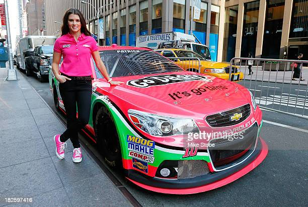 Danica Patrick driver of the GoDaddycom Chevrolet unveils the new pink color scheme in support of Breast Cancer Awareness Month at FOX on October 1...