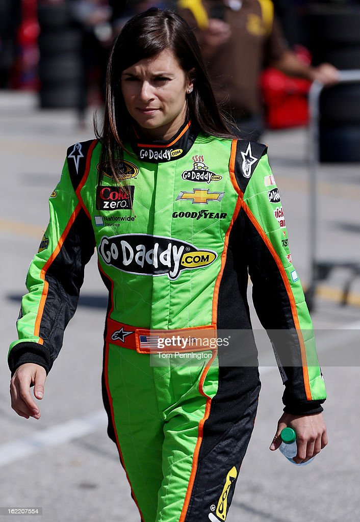 Danica Patrick, driver of the #10 GoDaddy.com Chevrolet, walks in the garage area during practice for the NASCAR Sprint Cup Series Daytona 500 at Daytona International Speedway on February 20, 2013 in Daytona Beach, Florida.