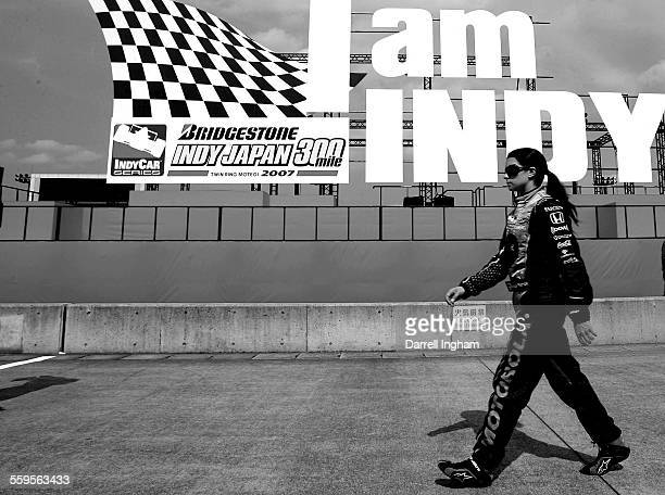 Danica Patrick driver of the Motorola Andretti Green Racing Dallara Honda during practice for the IRL Indycar Series Bridgestone Indy Japan 300 on...