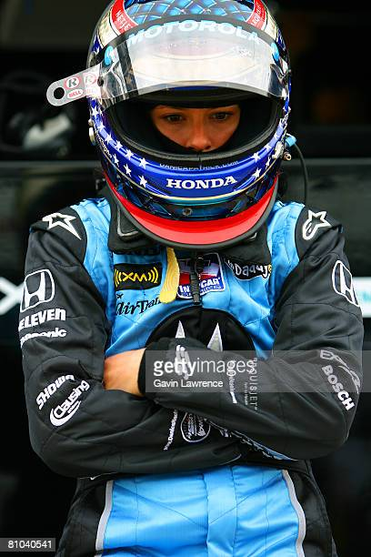 Danica Patrick driver of the Motorola Andretti Green Racing Dallara Honda looks on during practice for the IRL IndyCar Series 92nd running of the...