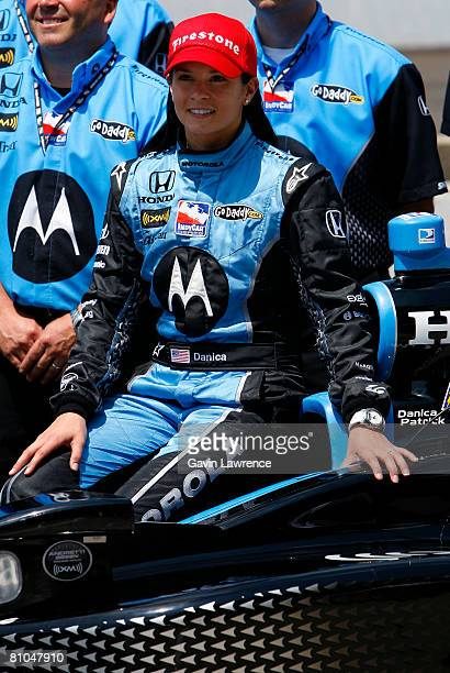 Danica Patrick driver of the Motorola Andretti Green Racing Dallara Honda during qualifying for the IRL IndyCar Series 92nd running of the...