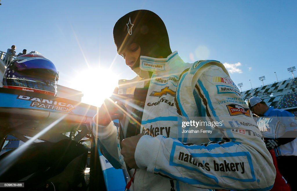 <a gi-track='captionPersonalityLinkClicked' href=/galleries/search?phrase=Danica+Patrick&family=editorial&specificpeople=183352 ng-click='$event.stopPropagation()'>Danica Patrick</a>, driver of the #10 Nature's Bakery Chevrolet, adjust her equipment during practice for the NASCAR Sprint Cup Series Sprint Unlimited at Daytona International Speedway on February 12, 2016 in Daytona Beach, Florida.