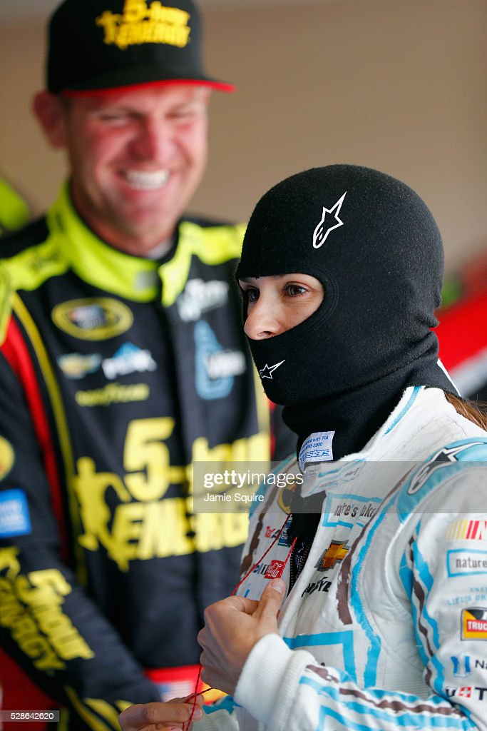 <a gi-track='captionPersonalityLinkClicked' href=/galleries/search?phrase=Danica+Patrick&family=editorial&specificpeople=183352 ng-click='$event.stopPropagation()'>Danica Patrick</a>, driver of the #10 Nature's Bakery Chevrolet, looks on during practice for the NASCAR Sprint Cup Series Go Bowling 400 at Kansas Speedway on May 6, 2016 in Kansas City, Kansas.