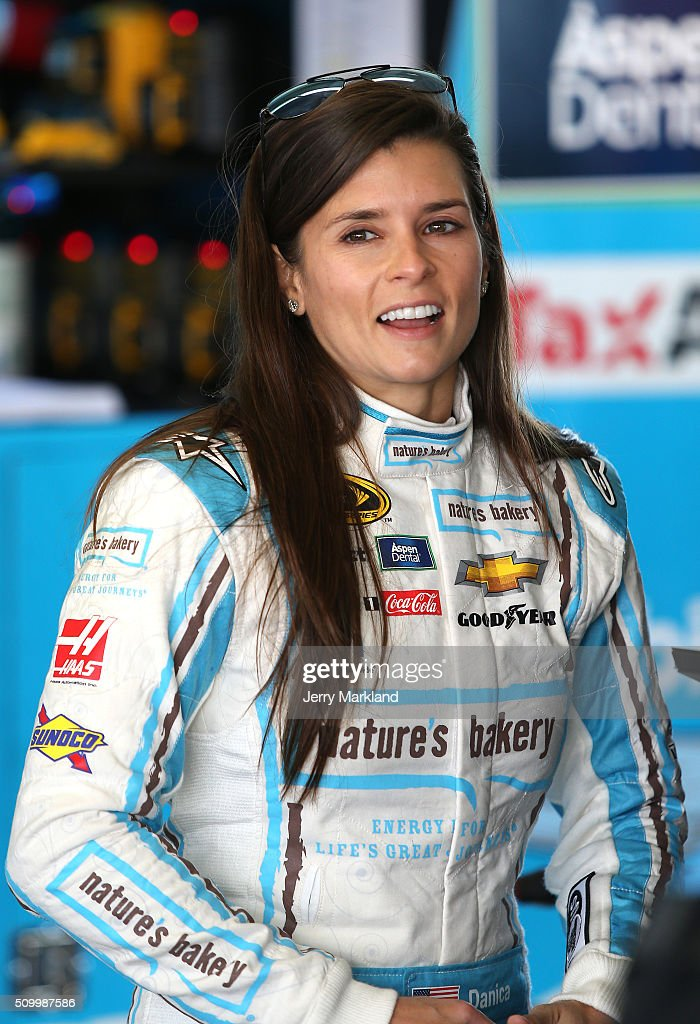 <a gi-track='captionPersonalityLinkClicked' href=/galleries/search?phrase=Danica+Patrick&family=editorial&specificpeople=183352 ng-click='$event.stopPropagation()'>Danica Patrick</a>, driver of the #10 Nature's Bakery Chevrolet, looks on in the garage area during practice for the NASCAR Sprint Cup Series Daytona 500 at Daytona International Speedway on February 13, 2016 in Daytona Beach, Florida.
