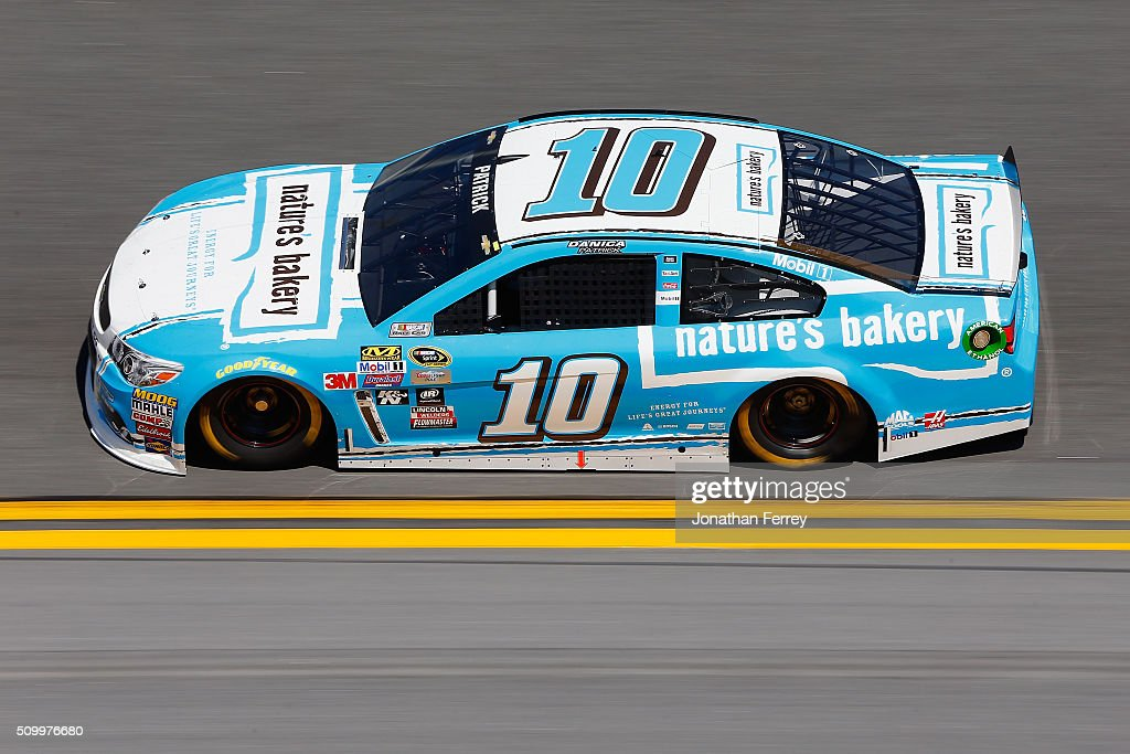 <a gi-track='captionPersonalityLinkClicked' href=/galleries/search?phrase=Danica+Patrick&family=editorial&specificpeople=183352 ng-click='$event.stopPropagation()'>Danica Patrick</a>, driver of the #10 Nature's Bakery Chevrolet, practices for the NASCAR Sprint Cup Series Daytona 500 at Daytona International Speedway on February 13, 2016 in Daytona Beach, Florida.