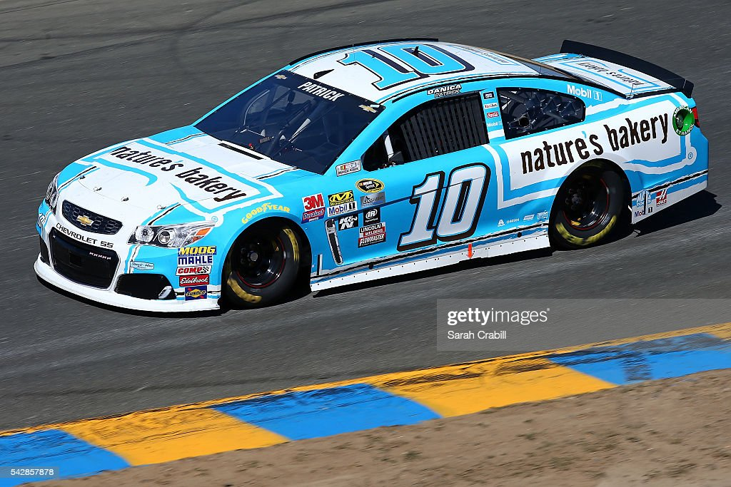 <a gi-track='captionPersonalityLinkClicked' href=/galleries/search?phrase=Danica+Patrick&family=editorial&specificpeople=183352 ng-click='$event.stopPropagation()'>Danica Patrick</a>, driver of the #10 Nature's Bakery Chevrolet, practices for the NASCAR Sprint Cup Series Toyota/Save Mart 350 at Sonoma Raceway on June 24, 2016 in Sonoma, California.