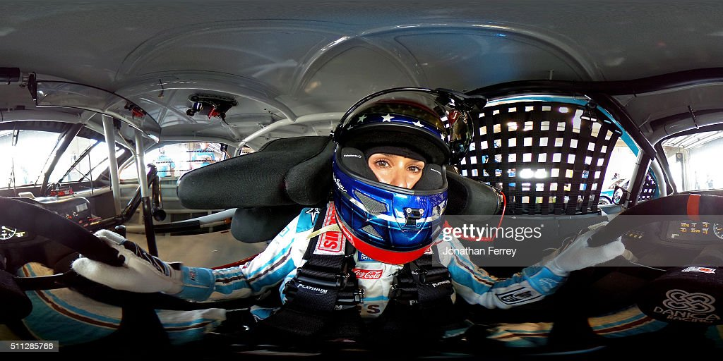 Danica Patrick, driver of the #10 Nature's Bakery Chevrolet, sits in her car during practice for the NASCAR Sprint Cup Series Daytona 500 at Daytona International Speedway on February 19, 2016 in Daytona Beach, Florida.
