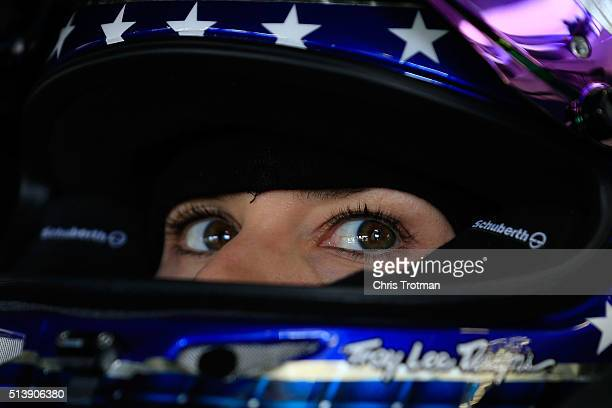 Danica Patrick driver of the Nature's Bakery Chevrolet sits in her car during practice for the NASCAR Sprint Cup Series Kobalt 400 at Las Vegas Motor...