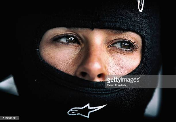 Danica Patrick driver of the Nature's Bakery Chevrolet sits in her car during qualifying for the NASCAR Sprint Cup Series Duck Commander 500 at Texas...