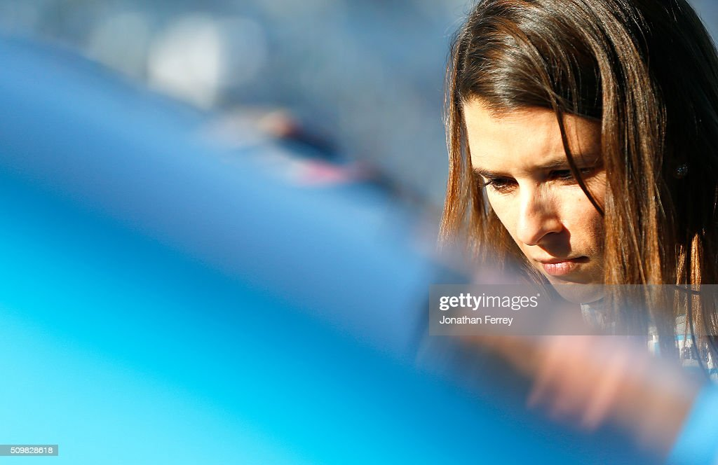 <a gi-track='captionPersonalityLinkClicked' href=/galleries/search?phrase=Danica+Patrick&family=editorial&specificpeople=183352 ng-click='$event.stopPropagation()'>Danica Patrick</a>, driver of the #10 Nature's Bakery Chevrolet, stands in the garage area during practice for the NASCAR Sprint Cup Series Sprint Unlimited at Daytona International Speedway on February 12, 2016 in Daytona Beach, Florida.