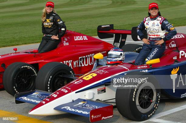 Danica Patrick driver of the Rahal Letterman Racing Argent Pioneer Panoz Honda pole position for the Indy 300 and Sarah McCune pole winner for the...