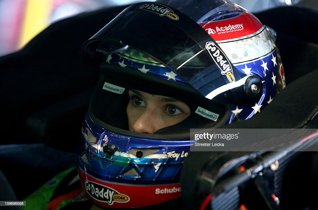 <a gi-track='captionPersonalityLinkClicked' href=/galleries/search?phrase=Danica+Patrick&family=editorial&specificpeople=183352 ng-click='$event.stopPropagation()'>Danica Patrick</a>, driver of the #10 Stewart Hass Racing Chevrolet, sits in her car during NASCAR Testing at Charlotte Motor Speedway on January 18, 2013 in Charlotte, North Carolina.