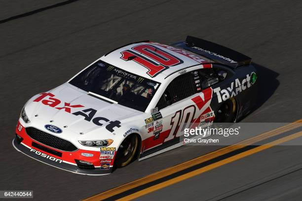 Danica Patrick driver of the TaxAct Ford during practice for the Monster Energy NASCAR Cup Series Advance Auto Parts Clash on February 17 2017 at...