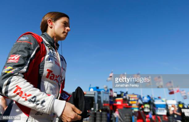 Danica Patrick driver of the TaxAct Ford looks on during qualifying for the Monster Energy NASCAR Cup Series O'Reilly Auto Parts 500 at Texas Motor...