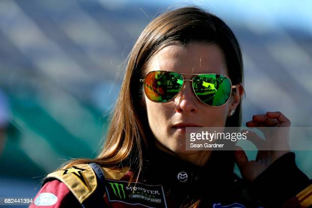 Danica Patrick driver of the Wonder Woman/One Cure Ford looks on from the grid during qualifying for the Monster Energy NASCAR Cup Series Go Bowling...