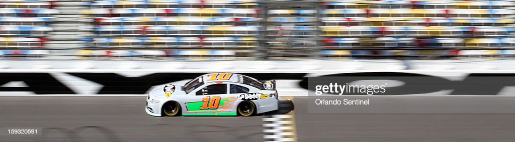 Danica Patrick (10) drives during test trials at Daytona International Speedway in Daytona Beach, Florida, Friday, January 11, 2013.