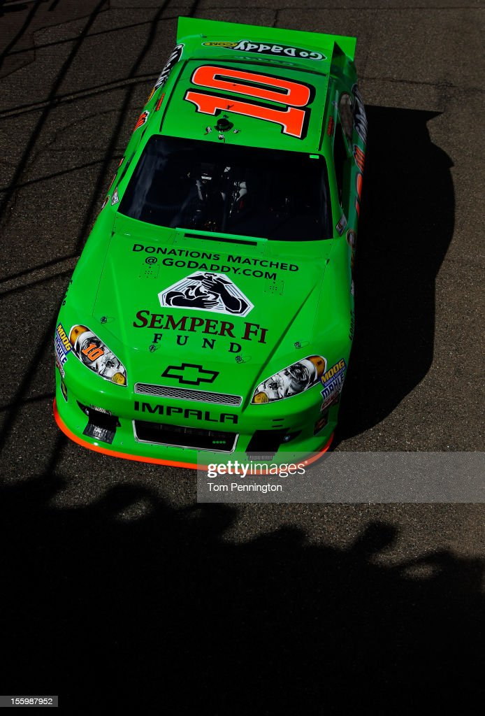 <a gi-track='captionPersonalityLinkClicked' href=/galleries/search?phrase=Danica+Patrick&family=editorial&specificpeople=183352 ng-click='$event.stopPropagation()'>Danica Patrick</a> drives the #10 GoDaddy.com Chevrolet during practice for the NASCAR Sprint Cup Series AdvoCare 500 at Phoenix International Raceway on November 10, 2012 in Avondale, Arizona.
