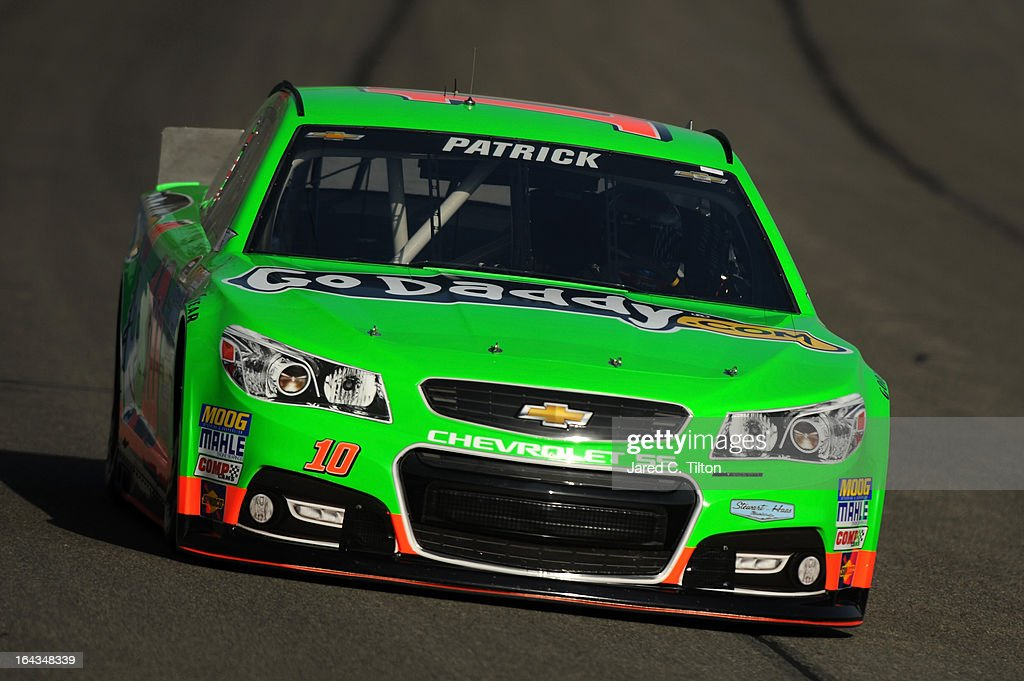 <a gi-track='captionPersonalityLinkClicked' href=/galleries/search?phrase=Danica+Patrick&family=editorial&specificpeople=183352 ng-click='$event.stopPropagation()'>Danica Patrick</a> drives the #10 GoDaddy.com Chevrolet during qualifying for the NASCAR Sprint Cup Series Auto Club 400 at Auto Club Speedway on March 22, 2013 in Fontana, California.