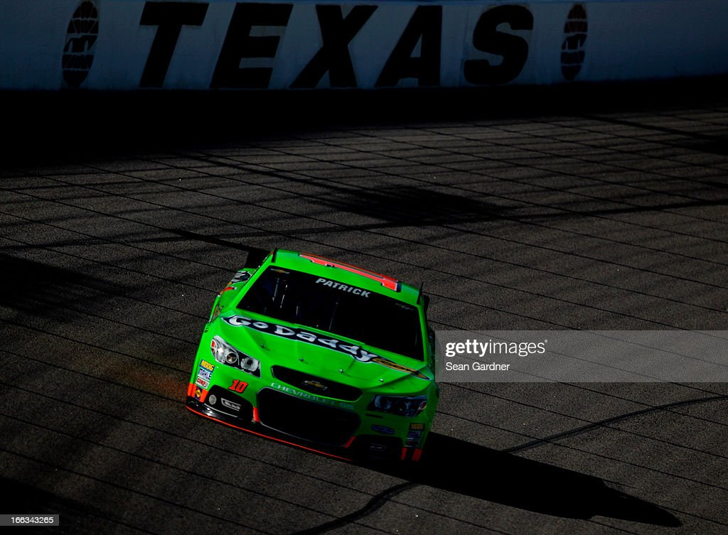 <a gi-track='captionPersonalityLinkClicked' href=/galleries/search?phrase=Danica+Patrick&family=editorial&specificpeople=183352 ng-click='$event.stopPropagation()'>Danica Patrick</a> drives the #10 GoDaddy.com Toyota during NASCAR Sprint Cup Series Gen-6 Testing at Texas Motor Speedway on April 11, 2013 in Fort Worth, Texas.