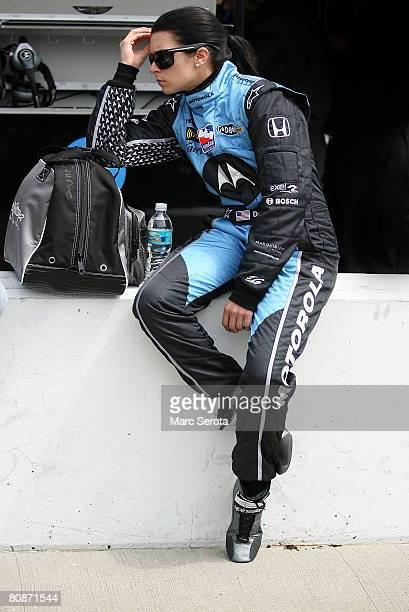 Danica Patrick in the Motorola Andretti Green Racing Dallara Honda prepares for qualifying for the IRL IndyCar Series Road Runner Turbo Indy 300 at...