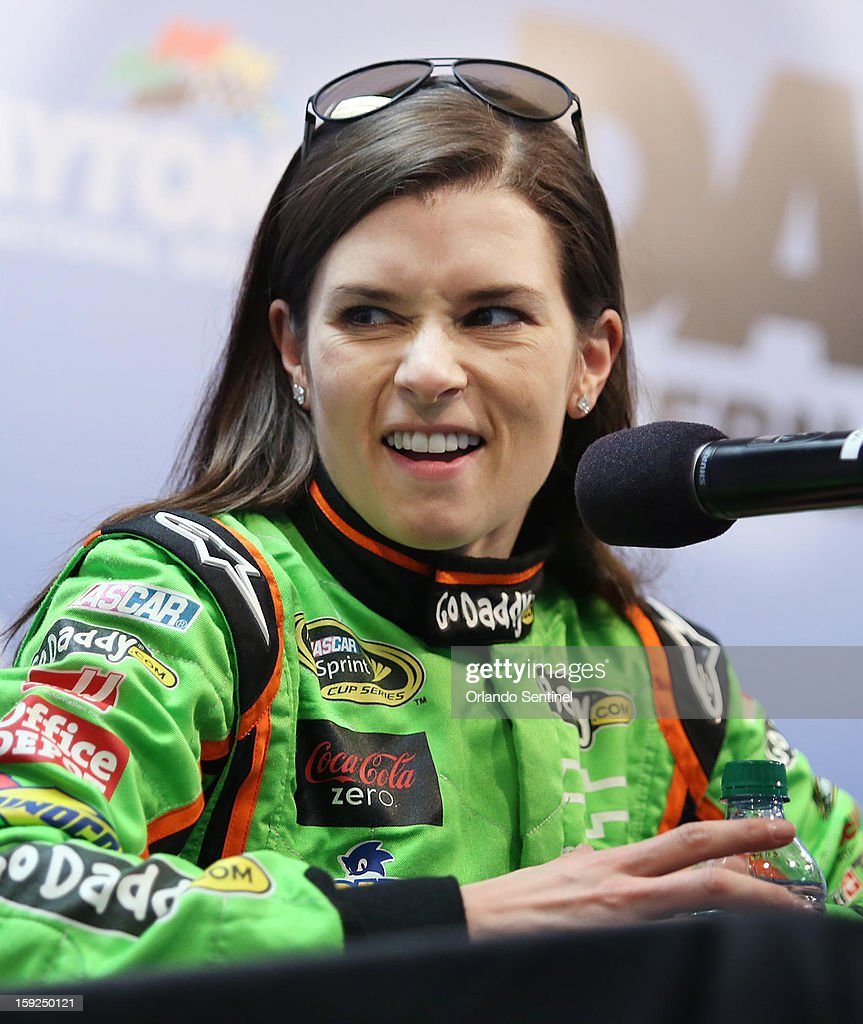 Danica Patrick responds to a question during a press conference during NASCAR Sprint Cup Series Preseason Thunder at Daytona International Speedway in Daytona Beach, Florida, Thursday, January 10, 2013.