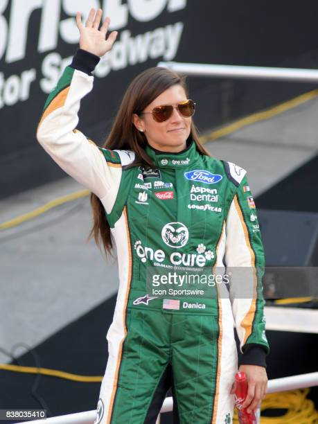 Danica Patrick StewartHaas Racing One Cure Ford Fusion before the NASCAR Monster Energy Cup Series Bass Pro Shops NRA Night Race on August 19 at...