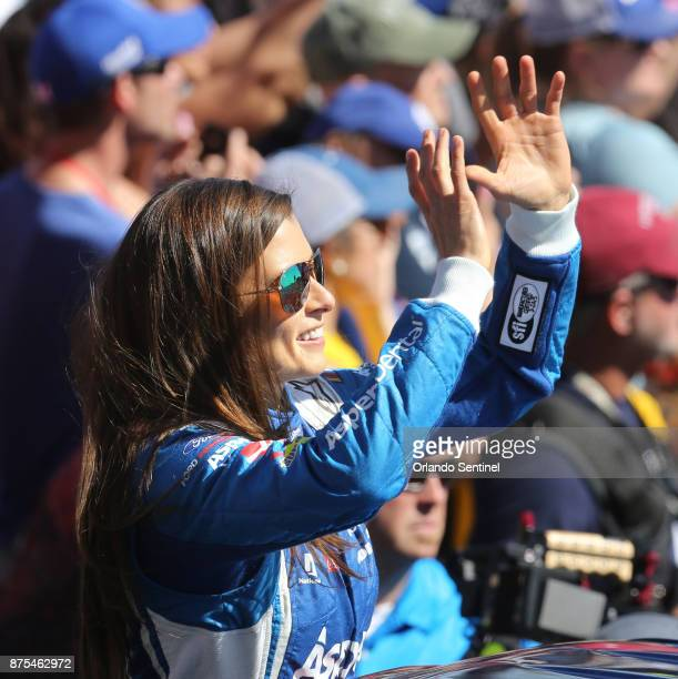 Danica Patrick waves to fans during driver introductions at the Daytona 500 on Sunday Feb 26 2017 at Daytona International Speedway in Daytona Beach...