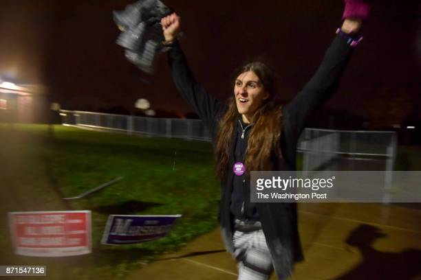 Danica Roem who is running for house of delegates against GOP incumbent Robert Marshall rejoices the end of a 10month campaign when polls closed at...