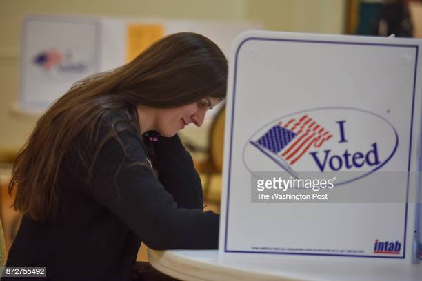 Danica Roem who is running for house of delegates against GOP incumbent Robert Marshall casts her vote at Buckhall Volunteer Fire Department on...