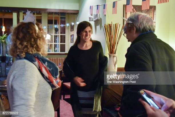 Danica Roem who is running for house of delegates against GOP incumbent Robert Marshall thanks her supporters from Indivisible NoVa West at their...