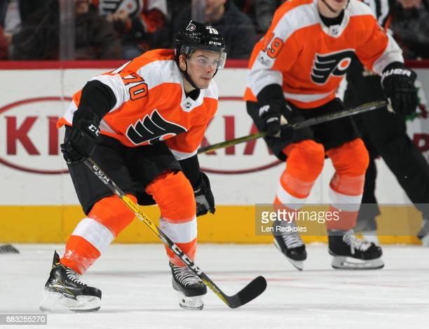 Danick Martel of the Philadelphia Flyers in action against the New York Islanders on November 24 2017 at the Wells Fargo Center in Philadelphia...