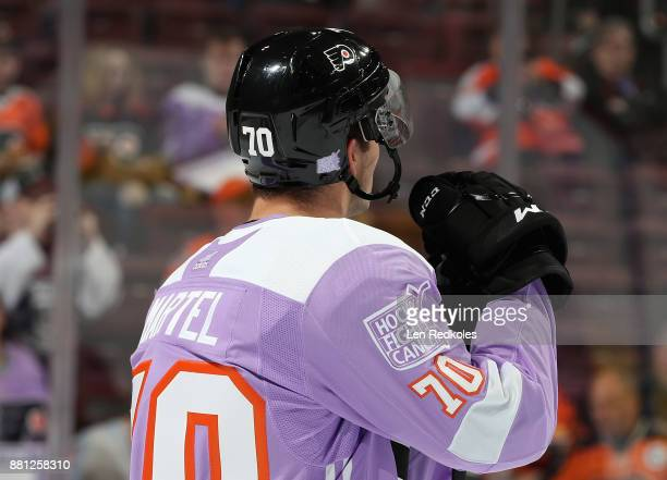 Danick Martel of the Philadelphia Flyers looks on during warmups prior to his game against the San Jose Sharks on November 28 2017 at the Wells Fargo...