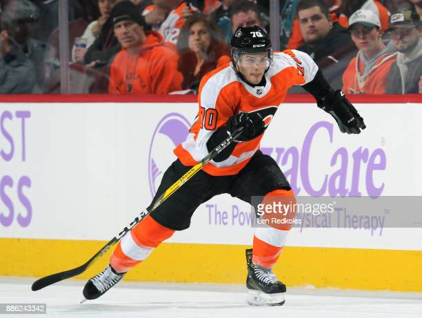 Danick Martel of the Philadelphia Flyers skates against the San Jose Sharks on November 28 2017 at the Wells Fargo Center in Philadelphia Pennsylvania