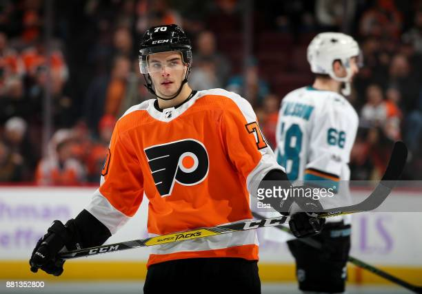 Danick Martel of the Philadelphia Flyers skates during a stop in play in the third period against the San Jose Sharks on November 28 2017 at Wells...