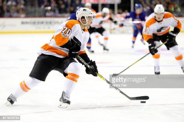 Danick Martel of the Philadelphia Flyers skates with the puck in the third period against the New York Islanders during their game at Barclays Center...
