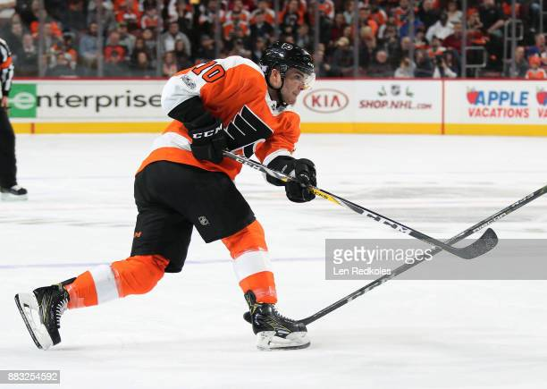 Danick Martel of the Philadelphia Flyers takes a slapshot against the New York Islanders on November 24 2017 at the Wells Fargo Center in...