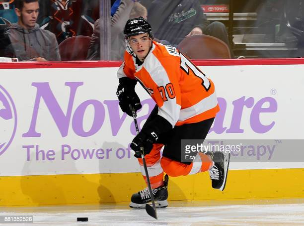 Danick Martel of the Philadelphia Flyers takes the puck in the third period against the San Jose Sharks on November 28 2017 at Wells Fargo Center in...
