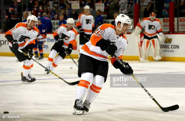 Danick Martel of the Philadelphia Flyers warms up prior to taking on the New York Islanders during their game at Barclays Center on November 22 2017...