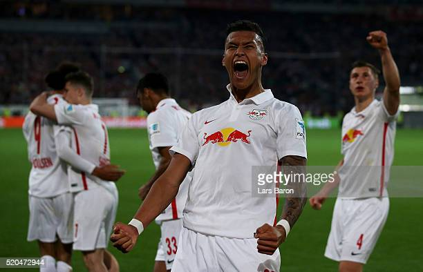 Danie Selke of Leipzig celebrates after team mate Yussuf Poulsen of Leipzig scored his teams third goal during the Second Bundesliga match between...