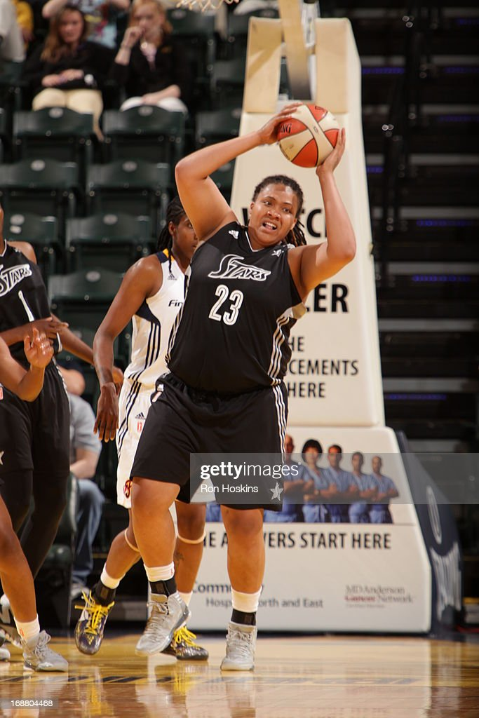Danieille Adams #32 of the San Antonio Silver Stars rebounds against the Indiana Fever on May 13, 2013 at Bankers Life Fieldhouse in Indianapolis, Indiana.