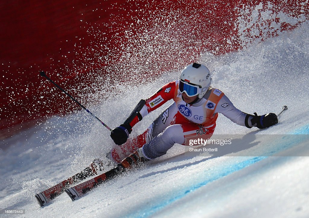 Daniel A. Gasienica of Poland competes in the Ladies' Giant Slalom at Rosa Khutor Alpine Center on March 14, 2013 in Sochi, Russia.