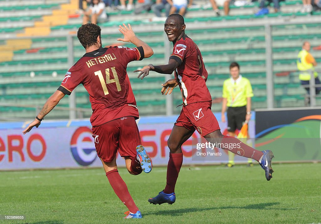 Daniel Adejo of Reggina celebrates after scoring his second teams goal during the Serie B match between Calcio Padova and Reggina Calcio at Stadio Euganeo on September 22, 2012 in Padova, Italy.