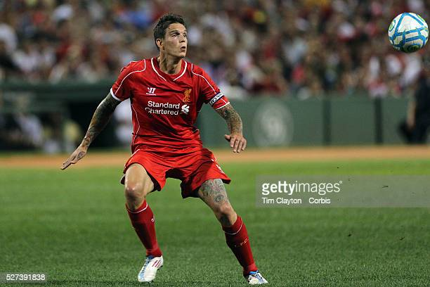 Daniel Agger Liverpool in action during the Liverpool Vs AS Roma friendly pre season football match at Fenway Park Boston USA 23rd July 2014 Photo...