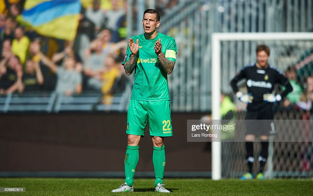 <a gi-track='captionPersonalityLinkClicked' href=/galleries/search?phrase=Daniel+Agger&family=editorial&specificpeople=605441 ng-click='$event.stopPropagation()'>Daniel Agger</a> of Brondby IF gestures during the Danish Alka Superliga match between AaB Aalborg and Brondby IF at Nordjyske Arena on May 1, 2016 in Aalborg, Denmark.